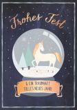 GWBI Frohes Fest / Einhorn in Schneekugel - Weihnachtswünsche Postkarte