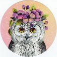 TAUSENDSCHÖN Eule mit Blumen Postkarte rund