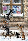 LOVELYCARDS Hunde vor Fenster - Rina Zenyukov Postkarte