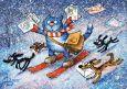 LOVELYCARDS Weihnachtspost auf Ski - Rina Zenyukov Postkarte