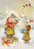 LOVELYCARDS Mädchen bauen Schneemann - Catherine Babok Postkarte