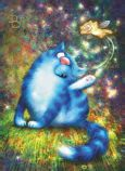 ACARDS Katzenelfe ärgert Katze - Irina Zeniuk Postkarte