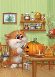 ACARDS Katze mit Kürbis - Alexey Dolotov Postkarte