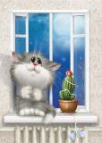 ACARDS Melancholie / Katze mit Kaktus - Alexey Dolotov Postkarte