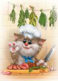ACARDS Katze in der Küche - Alexey Dolotov Postkarte