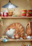 ACARDS Erwischt! / Katze im Regal - Alexey Dolotov Postkarte