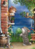 ACARDS Katze auf Balkon - Alexey Dolotov Postkarte