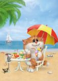 ACARDS Katze im Urlaub am Strand - Alexey Dolotov Postkarte