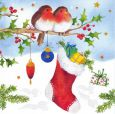 GOLLONG Rotkehlchen und Weihnachtssocke - Carola Pabst Postkarte
