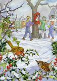 TAURUS-KUNSTKARTEN Rotkehlchen + Kinder am Briefkasten - Molly Brett Postkarte