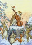 TAURUS-KUNSTKARTEN Tiere tanzen Weihnachtsreigen - Molly Brett Postkarte