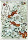 TAUSENDSCHÖN Fröhliche Weihnachten / Baum mit Eichhörnchen Postkarte