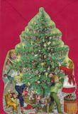 TAUSENDSCHÖN Kinder schmücken Weihnachtsbaum - gestanzte Postkarte mit Kuvert