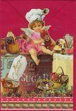 TAUSENDSCHÖN Merry Christmas / Engel backt Kekse - gestanzte Postkarte mit Kuvert