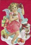 TAUSENDSCHÖN Engel mit Lebkuchen + Geschenken - gestanzte Postkarte mit Kuvert