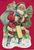TAUSENDSCHÖN Weihnachtsmann mit Geschenkesack + Schlitten - gestanzte Postkarte mit Kuvert