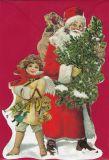 TAUSENDSCHÖN Engel + Weihnachtsmann mit Tannenbaum - gestanzte Postkarte mit Kuvert