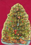 TAUSENDSCHÖN Geschmückter Weihnachtsbaum - gestanzte Postkarte mit Kuvert