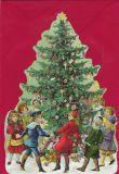 TAUSENDSCHÖN Kinder tanzen um Weihnachtsbaum - gestanzte Postkarte mit Kuvert