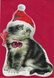 TAUSENDSCHÖN Weihnachtskatze - gestanzte Postkarte mit Kuvert