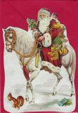 TAUSENDSCHÖN Weihnachtsmann auf Pferd - gestanzte Postkarte mit Kuvert