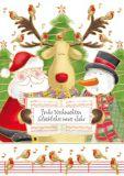 QUIRE Frohe Weihnachten/ Weihnachtsmann, Schneemann + Rentier singen Postkarte