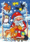 LUTZ MAUDER Weihnachtsmann + Waldtiere Fensterbild Postkarte