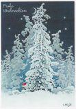 LENNART HELJE Frohe Weihnachten / Zwerg hinter Schneetanne Postkarte