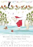 QUIRE We wish you a merry Christmas / Eisbär + Vögel Postkarte