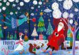 GOLLONG Frohes Fest / Weihnachtsmann, Engel + Gans - Mila Marquis Postkarte