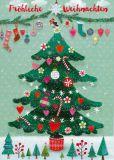 GOLLONG Fröhliche Weihnachten / Weihnachtsbaum mit kleinen Bäumen - Mila Marquis Postkarte