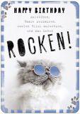 HARTUNG EDITION Happy Birthday ... Leben rocken / Katze IN TOUCH Postkarte