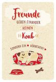 GOLDBEK Freunde geben einander keinen Korb / Hund auf Kissen Hello Friends Postkarte