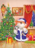 ACARDS Katze am Weihnachtsbaum - Alexey Dolotov Postkarte