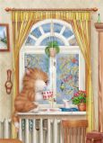 ACARDS Rainy Mood / Katze vor Fenster - Alexey Dolotov Postkarte