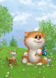 ACARDS Katze sammelt Beeren + Pilze - Alexey Dolotov Postkarte