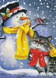 ACARDS Katze mit Schneemann - Irina Garmashova Postkarte