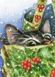 ACARDS Katze in Tasche Weihnachten - Irina Garmashova Postkarte