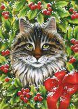 ACARDS Katze in Weihnachtskranz - Irina Garmashova Postkarte