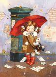 ACARDS Mädchen mit Regenschirm am Briefkasten - Evgenia Chistotina Postkarte