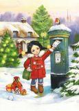 ACARDS Mädchen mit Weihnachtspost am Briefkasten - Evgenia Chistotina Postkarte