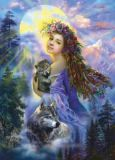 ACARDS Mädchen mit Wölfen vor Mond - Nadeschda Strelkina Postkarte