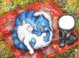 ACARDS Schlafendes Katzenpaar auf Decke - Irina Zeniuk Postkarte