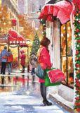 ACARDS Weihnachtsshopping / Frau am Schaufenster - D. R. Laird Postkarte