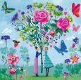 GOLLONG Frauen mit Blumenstrauß - Mila Marquis Postkarte