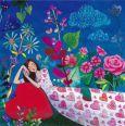 GOLLONG Schlafende Frau auf Herz mit Blumen - Mila Marquis Postkarte