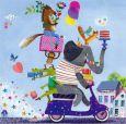 GOLLONG Tiere auf Motorroller - Mila Marquis Postkarte