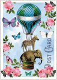 TAUSENDSCHÖN Heißluftballon mit Elefant + Zebra Postkarte