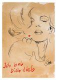 MT Ich hab dich lieb / Marilyn Monroe - Otto Waalkes / Ottifanten Postkarte