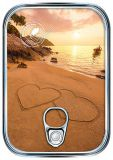 HARTUNG EDITION Herzen im Sand im Sonnenuntergang Metalliceffekt Postkarte